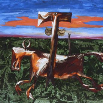Albert Tucker, Wild Colonial Boy 4 1968, synthetic polymer paint on composition board, 91.3 x 122 cm, Heide Museum of Modern Art, On long-term loan from the Estate of Barbara Tucker, © Estate of Barbara Tucker, courtesy of Sotheby's Australia