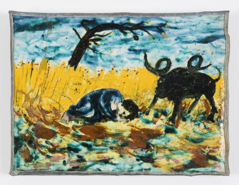 Arthur Boyd, A Boy Dreaming in a Cornfield 1950-1952, painted and glazed earthenware, 32.5 x 43 cm, Bequest of John and Sunday Reed 1982