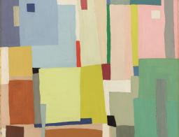 Grace Crowley, Abstract Painting c.1950, oil on cardboard, 58.6 x 70.9 cm, Art Gallery of Ballarat, © the artist