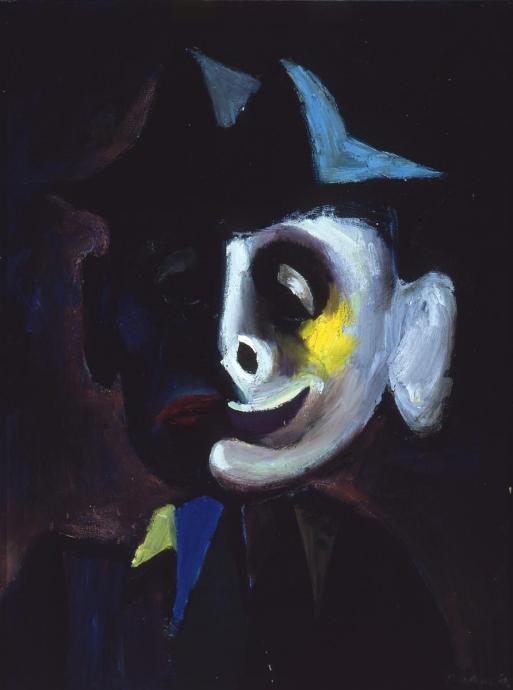 Albert Tucker, Tivoli Clown 1945, oil on composition board, 61 x 45.5 cm, Heide Museum of Modern Art, Melbourne, Gift of Barbara Tucker 2005, © Estate of Barbara Tucker