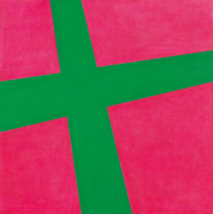 Gunter Christmann, Red/Green Cross 1966, oil on composition board, 122 x 122 cm, National Gallery of Victoria Melbourne, Purchased 1992