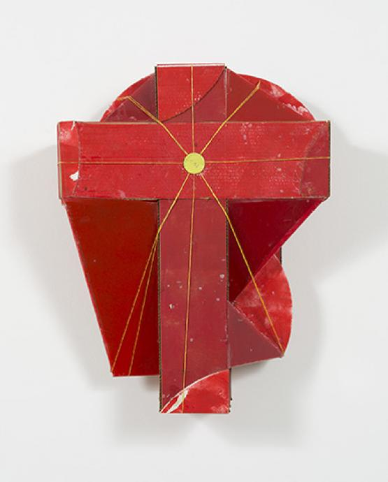Rose Nolan, A Red Constructed Work 1992-93, synthetic polymer paint, oil paint, cardboard, perspex, tin lid and nylon cord, 32 x 84 x 63 cm, Heide Museum of Modern Art, © the artist