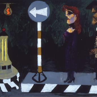Albert Tucker, Bus Stpo 1954, oil on composition board, 60.7 x 79.5 cm, Heide Museum of Modern Art, On loan from Barbara Tucker 2000, © Estate of Babara Tucker