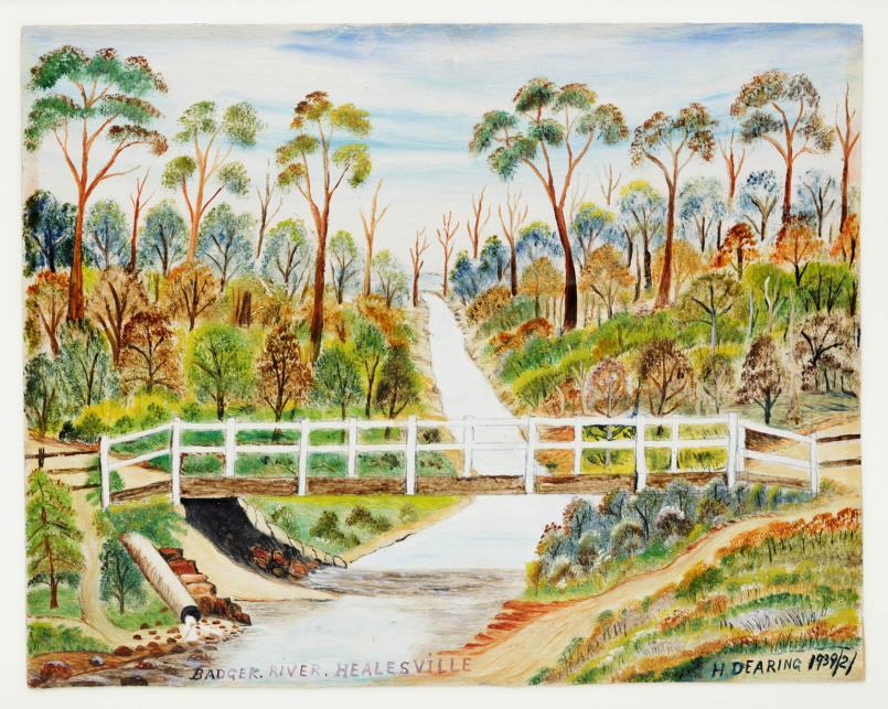 H. Dearing, Badger River, Healesville 1939, oil on cardboard, 25.5 x 31.5 cm, Heide Museum of Modern Art, Purchased with funds donated by Barbara Tucker 2013