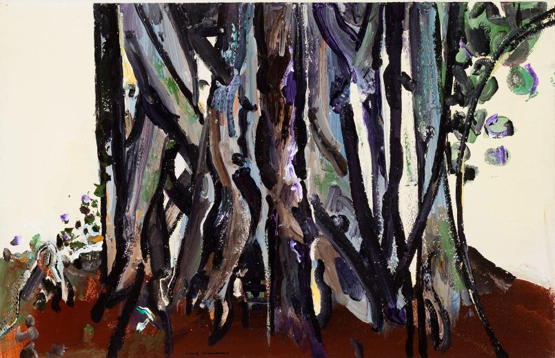 Fred Williams, Antarctic Beech Tree Trunks, Queensland 1971, synthetic polymer paint and gouache on Arches paper, 35.3 x 55.3 cm, Private Collection, Melbourne, © Estate of Fred Williams