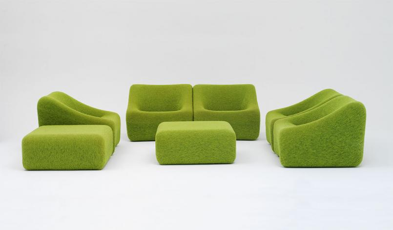 Grant and Mary Featherston (designers), Numero IV chairs and ottomans 1973-4, polyurethane foam, ABS plastic, wool, Collection: Museum of Applied Arts and Sciences, Sydney, Purchased 2012, © Grant Featherston/Licensed by VISCOPY, Australia 2018