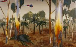 Albert Tucker, Parrots in Bush 1973, oil and mixed media on composition board, 60.5 x 75.9 cm, Cbus Collection of Australian Art as advised by Dr Joseph Brown AO OBE, © Estate of Barbara Tucker