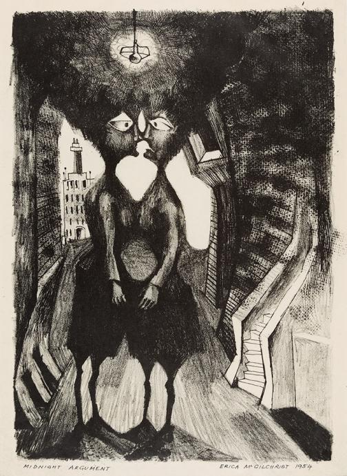 Erica McGilchrist, Midnight Argument 1954, lithograph, 35 x 25 cm, Heide Museum of Modern Art, Melbourne, Gift of Erica McGilchrist 1999, © Estate of Erica McGilchrist