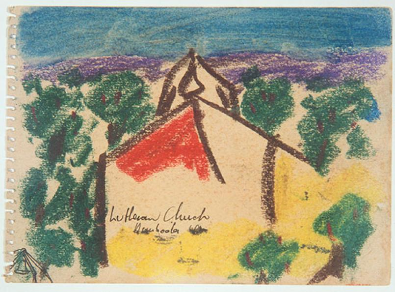 Sidney Nolan, Page from Wimmera sketchbook 1942, pastel, watercolour and pen and ink on paper, 13.5 x 18.7 cm, Heide Museum of Modern Art, Melbourne, Purchased with funds provided by the Friends of Heide 1997