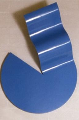 Sydney Ball, Khamsa Blue 1966-67, enamel on plywood, 61 x 132 x 175 cm, Heide Museum of Modern Art, Purchased from John and Sunday Reed 1980, Courtesy of the artist