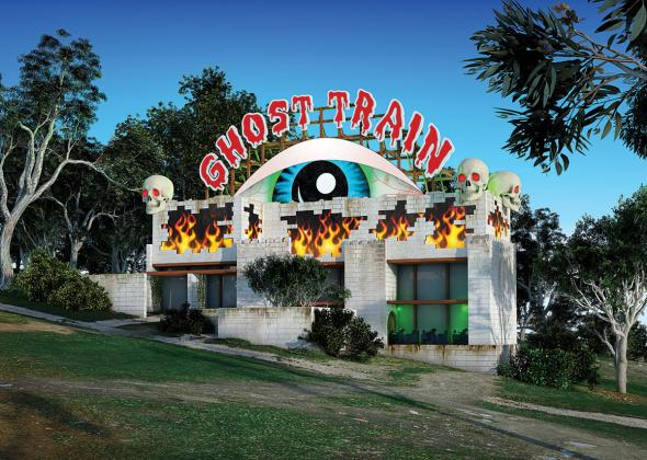 Callum Morton, Ghost Train, Bulleen 2011, digital print on archival paper94.5 x 132.5 cm, 94.5 x 132.5 cm, Courtesy of the artist, Anna Schwartz Gallery, Melbourne, and Roslyn Oxley9 Gallery, Sydney