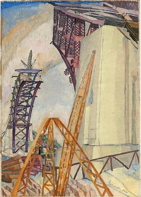 Grace Cossington Smith, The Bridge in Building 1929, oil on pulpboard, 75 x 53 cm, National Gallery of Australia, Gift of Ellen Waugh 2005, © Estate of Grace Cossington Smith