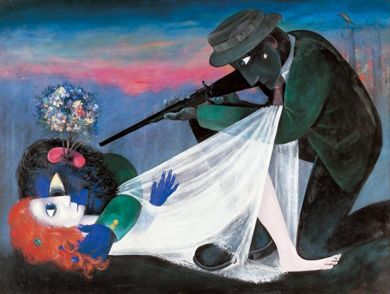Arthur Boyd, Persecuted Lovers 1957-58, oil and tempera on board, 137.2 x 182.9 cm, Art Gallery of South Australia, A.R. Ragless Bequest Fund 1964, © Bundanon Trust