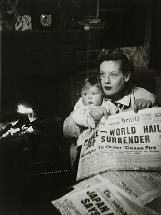 Albert Tucker, Peace: Joy Hester Holding Sweeney 1945, gelatin silver photograph, 35.7 x 26.9 cm, Heide Museum of Modern Art, Melbourne, Gift of Barbara Tucker 2001