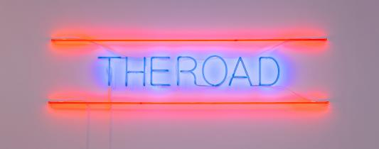 Janet Burchill and Jennifer McCamley, The Road 2008, neon tubing, electrical components, 50 x 220 cm, Photograph: Christian Capurro