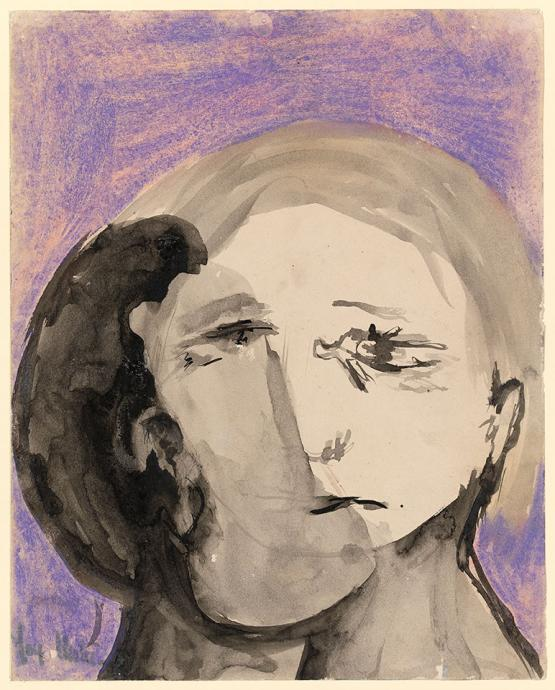 Joy Hester, Untitled (From the Love series) 1949, brush and ink and pastel on paper, 31.6 x 25.2 cm, National Gallery of Victoria, Melbourne, Purchased 1976, © Joy Hester/Copyright Agency 2019