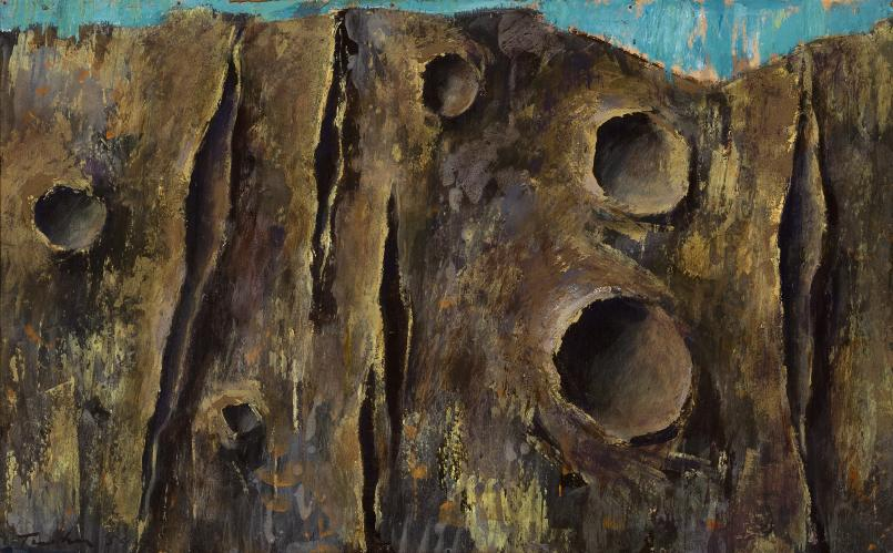 Albert Tucker, Cratered Landscape 1959, synthetic polymer paint on composition board, 49.5 x 80 cm, On long-term loan from the Albert & Barbara Tucker Foundation., Courtesy of Sotheby's Australia, © Albert & Barbara Tucker Foundation