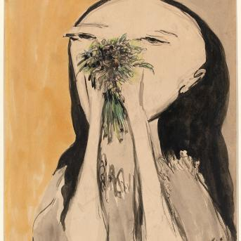 Joy Hester, Girl Holding Flowers 1956, brush and ink, watercolour, pastel on paper, 35.8 x 27.1 cm, National Gallery of Victoria, Melbourne, Presented through The Art Foundation of Victoria from the Bequest of Violet Dulieu, Founder Benefactor 1997, © Joy Hester/Copyright Agency 2020