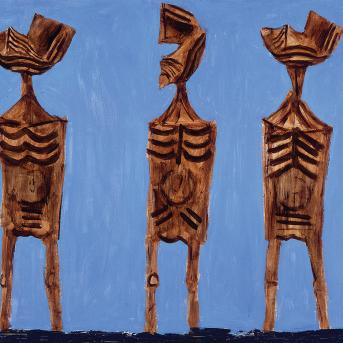 Albert Tucker, Enduring Figures 1956, oil on composition board, 94.3 x 129 cm, Heide Museum of Modern Art, On loan from Barbara Tucker 2000, © the Estate of Barbara Tucker