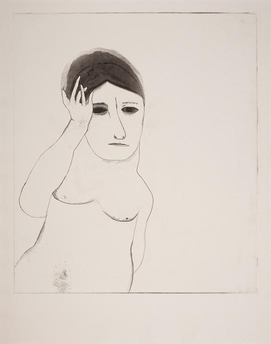 George Baldessin, Performer (White Personage) 1968, etching and aquatint, 50 x 43.3 cm, Heide Museum of Modern Art, Gift of Tess, Gabriel and Ned Baldessin 2010, © Estate of George Baldessin