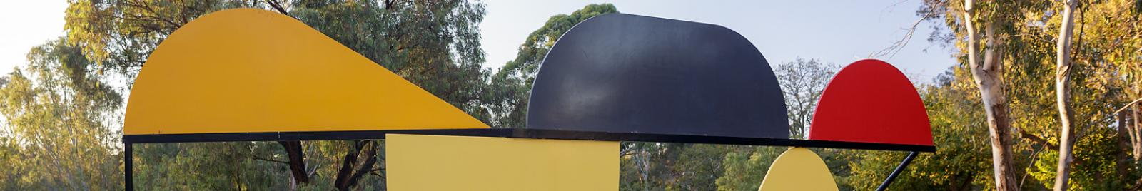 Peter D Cole, Red Hill, Black Hill, Green Hill 2006, steel, stainless steel, synthetic polymer paint, 150 x 270 x 600 cm, Heide Museum of Modern Art, Commissioned through the Heide Foundation 2006 in memory of Ken Fletcher, Chairman of Heide Museum of Modern Art, 1998-2002