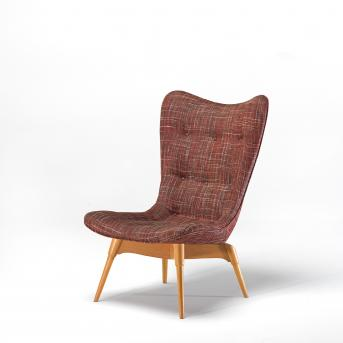 Grant Featherston (designer and maker), R152 Contour chair (1950) designed, hardwood, plywood, linen, (other materials), National Gallery of Victoria, Melbourne, Purchased 1955, © Grant Featherston/Licensed by VISCOPY, Australia