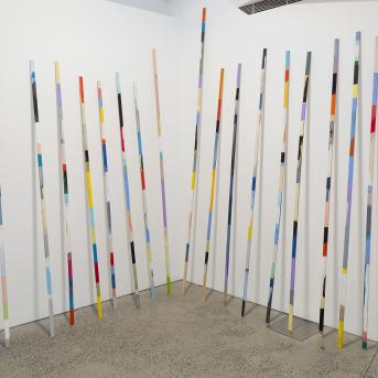 Antonia Sellbach, Stick Works #5 2015–16, synthetic polymer paint and gesso on pine, 18 parts, installation dimensions variable, Courtesy the artist, © Antonia Sellbach
