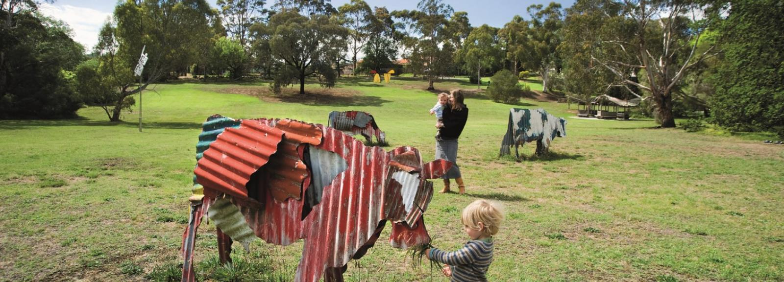 Jeff Thompson, Cows 1987, painted corrugated iron, Heide Museum of Modern Art, Photograph: John Gollings 2010, © the artist