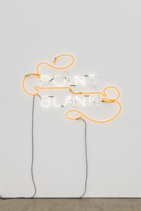 Janet Burchill and Jennifer McCamley, Point Blank 2016, neon, electric cable, fittings and transformer, 122 x 180 cm, Courtesy of the artists and Neon Parc, Melbourne