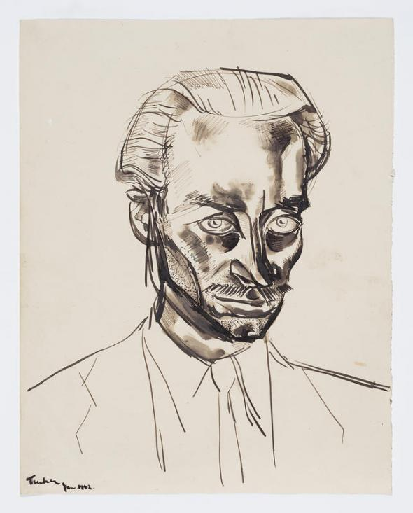 Albert Tucker, Self Portrait 1942, pen and ink on paper, 26 x 20 cm, Bequest of John and Sunday Reed 1982, © Albert & Barbara Tucker Foundation. Courtesy of Sotheby's Australia