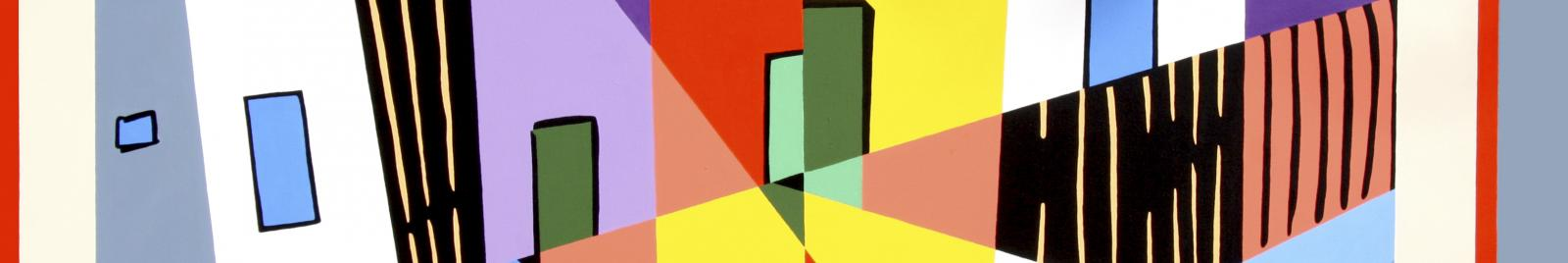 Robert Rooney, After Colonial Cubism 1993, synthetic polymer paint on canvas, 122 x 198.3 cm, Purchased through the Heide Foundation with the assistance of the Heide Foundation Collectors' Group and the Robert Salzer Foundation 2008