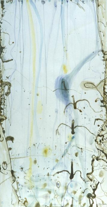 John Olsen, Pelicans and Waterway 1978, watercolour and gouache on paper, 191.5 x 100.5 cm, Heide Museum of Modern Art, Gift of John and Sunday Reed 1980, Courtesy of the artist