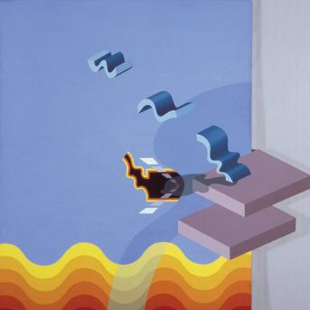 John Krzywokulski, Ascent Celestial Highway Assumed 1969, synthetic polymer paint on composition board, 122.2 x 121.6 cm, Heide Museum of Modern Art, Bequest of John and Sunday Reed 1982, Courtesy of the artist