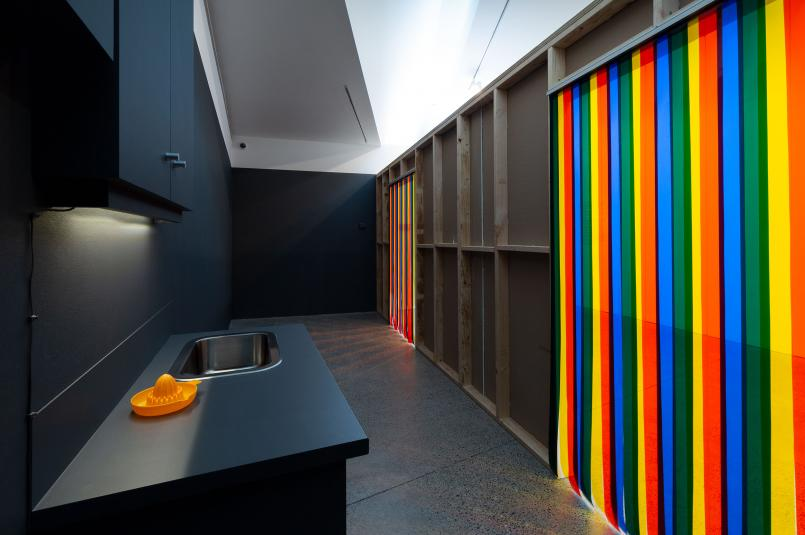 Installation view, Shannon Lyons: Dark Kitchen 2019, Heide Museum of Modern Art, Melbourne, Photograph: Christian Capurro
